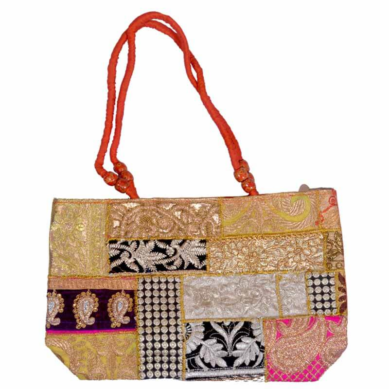 Handcrafted Multiwork Embroidery Zari Work Shoulder Bag