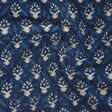 indigo White Block Print Cotton Fabric-14763