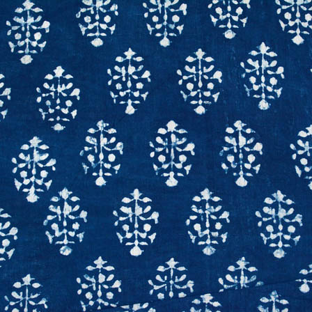 indigo blue and white flower printed cotton block print fabric-4579