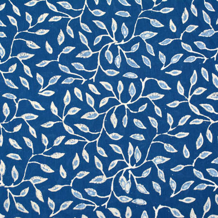indigo blue and white leaf printed cotton block print fabric-4575