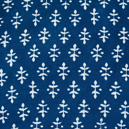indigo blue and white leaf style block print fabric-4580