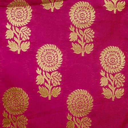 magenta and Golden Zari Floral Brocade Silk Fabric-1074