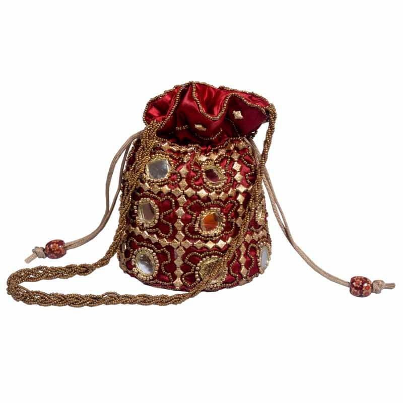 Maroon Multi Potli With Mirror Work