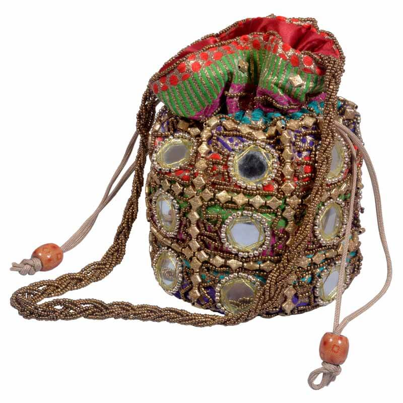 Multicolor Multi Work Potli With Mirror Work
