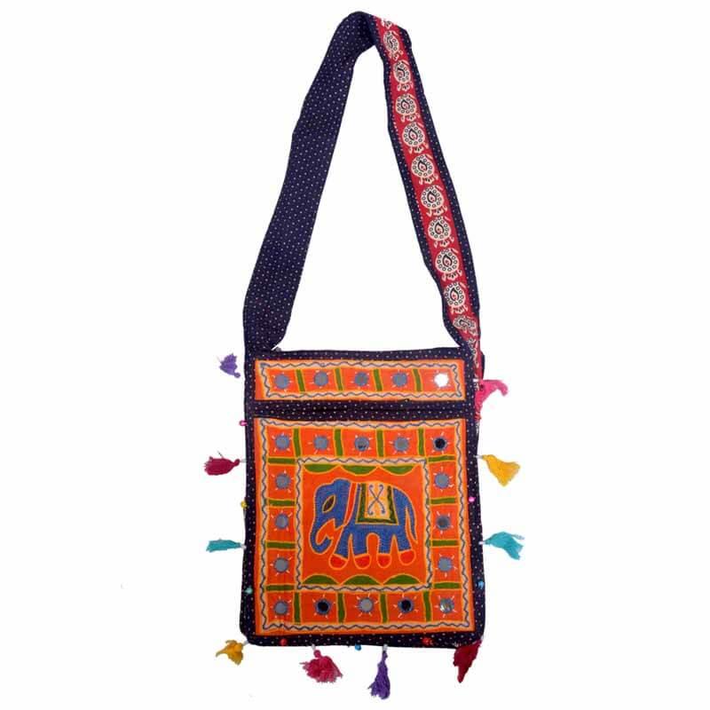 Orange Embroidered Ari Rectangular Elephant And Mirror Work Shoulder Bag