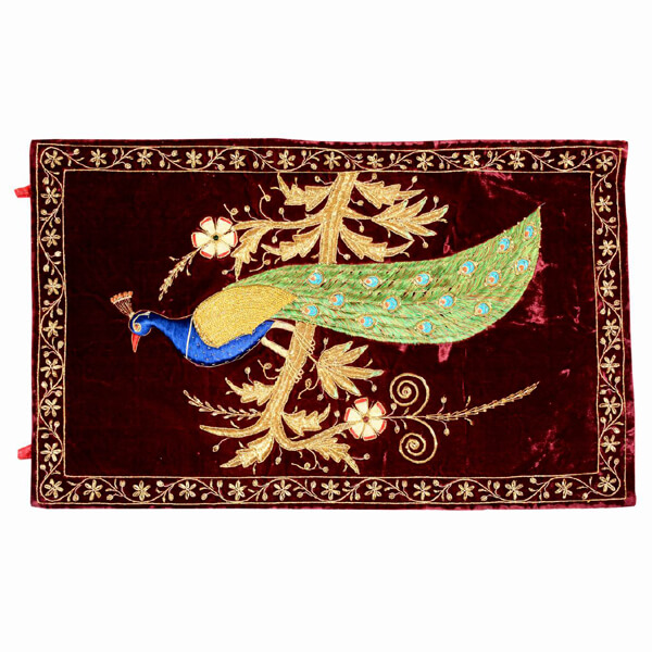 Peacock Tapestry with Brown Background