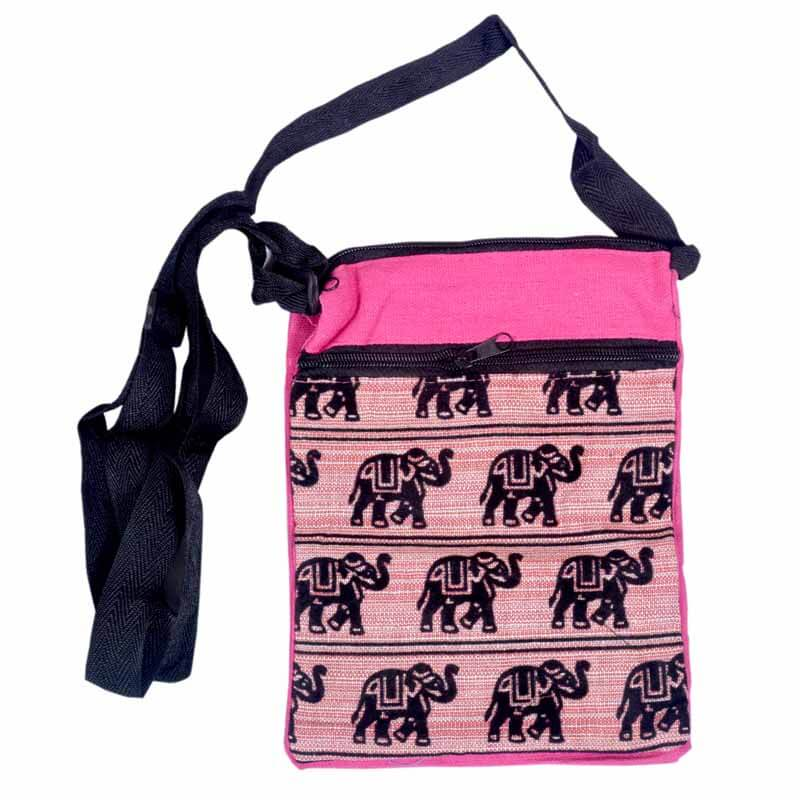 Pink And Black Elephant Print Sling Bag