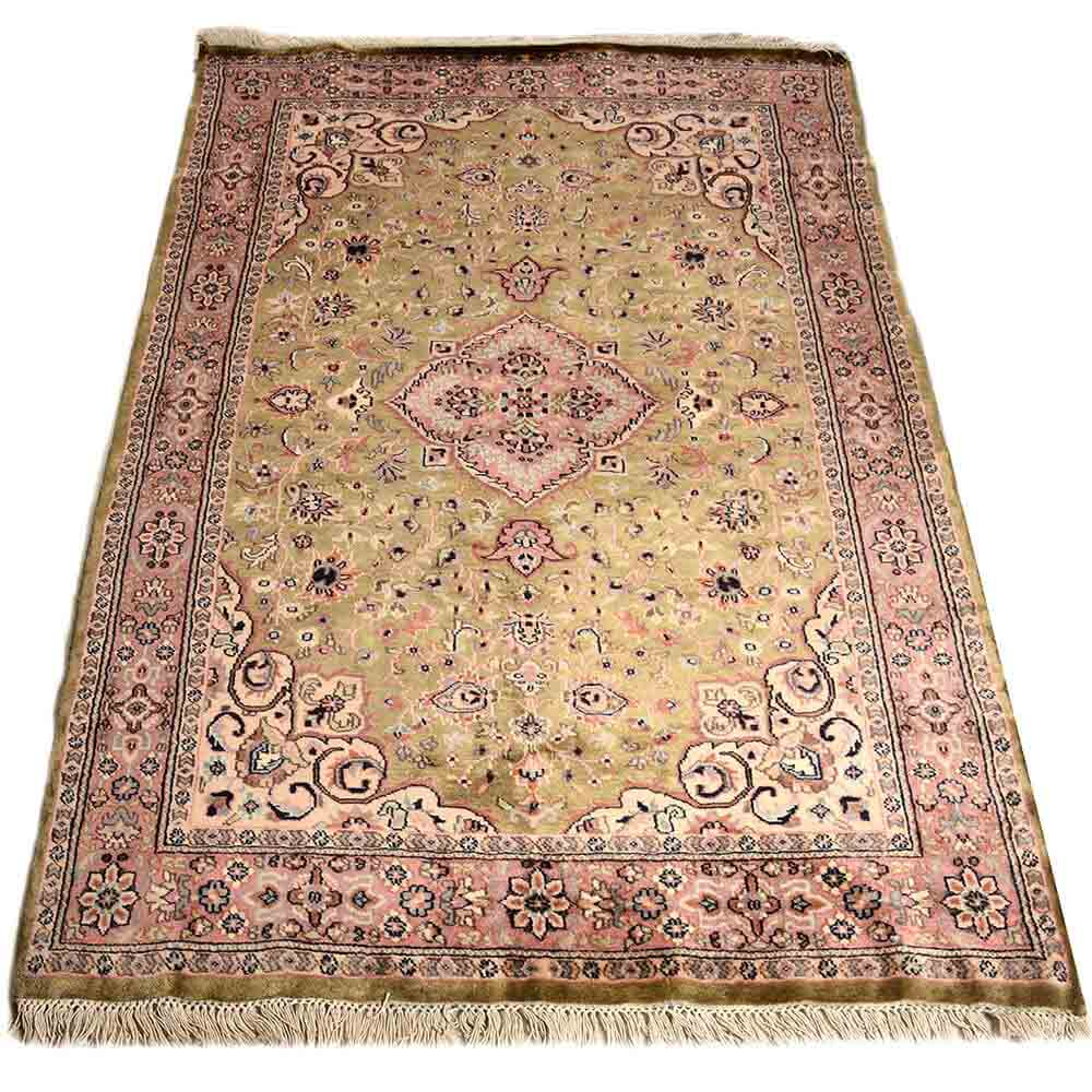 Pink/Green 4*6 Persian Hand Knotted Wool Rug