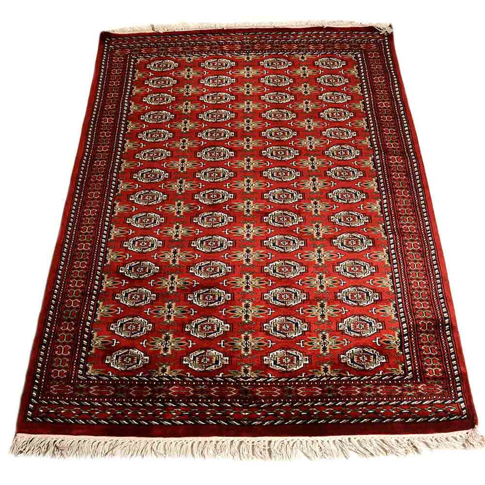 Red 4*6 Parda (Box) Hand Knotted Wool Rug