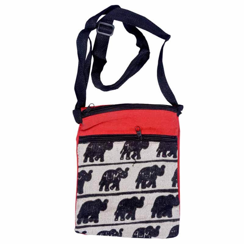 Red And Black Elephant Print Sling Bag