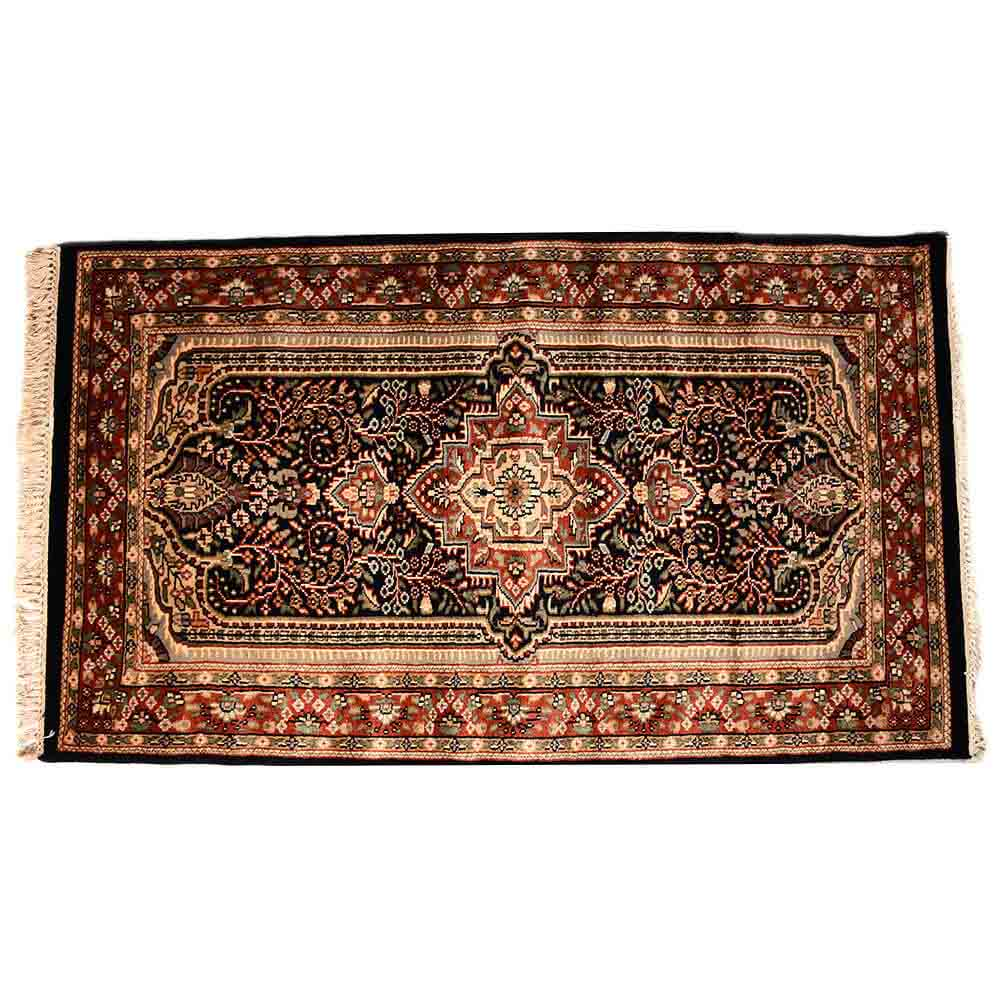 Red/Black 3*5 Persian Hand Knotted Wool Carpet