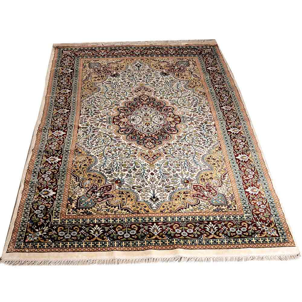 Red/Gold/White 5*7 Persian Hand Knotted Stepple Gwalior Rug
