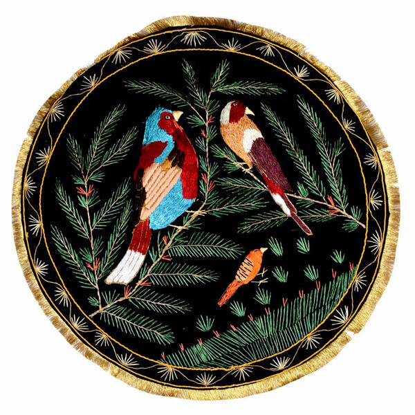 Round Tapestry with Birds