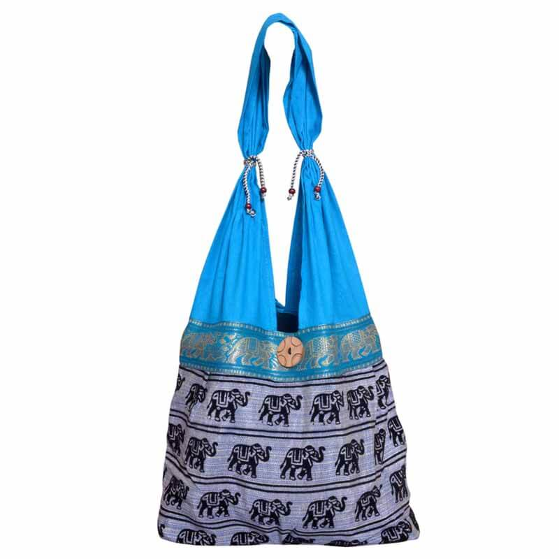 Skyblue And Grey Elephant Print Shoulder Bag