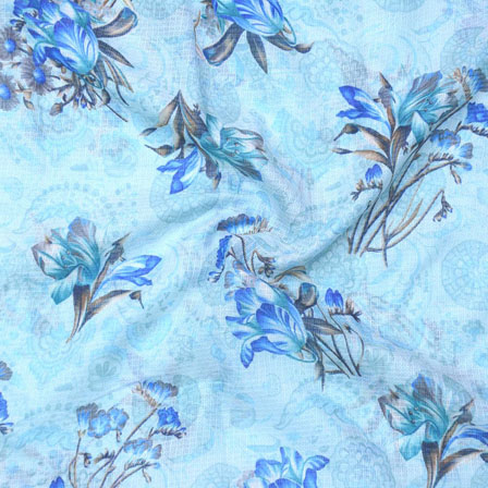 white Blue Flower Kota Doria Fabric-25126