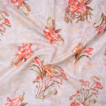 white Green and Orange Flower Kota Doria Fabric-25129