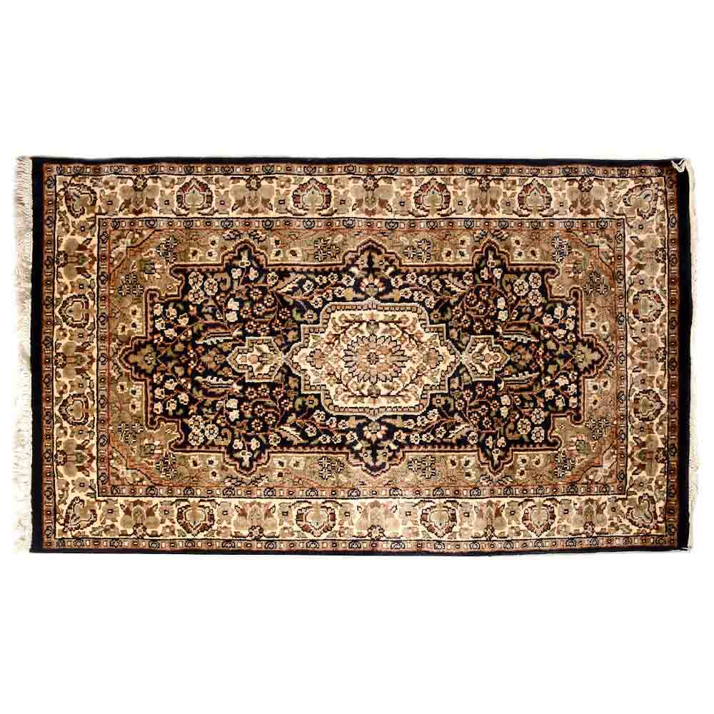 White/Black 3*5 Persian Hand Knotted Wool Rug