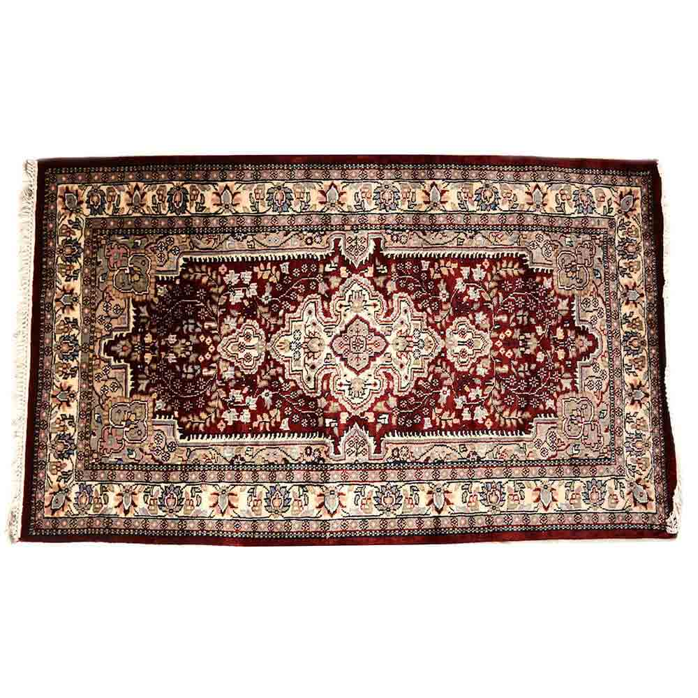 White/Red 3*5 Persian Hand Knotted Wool Carpet