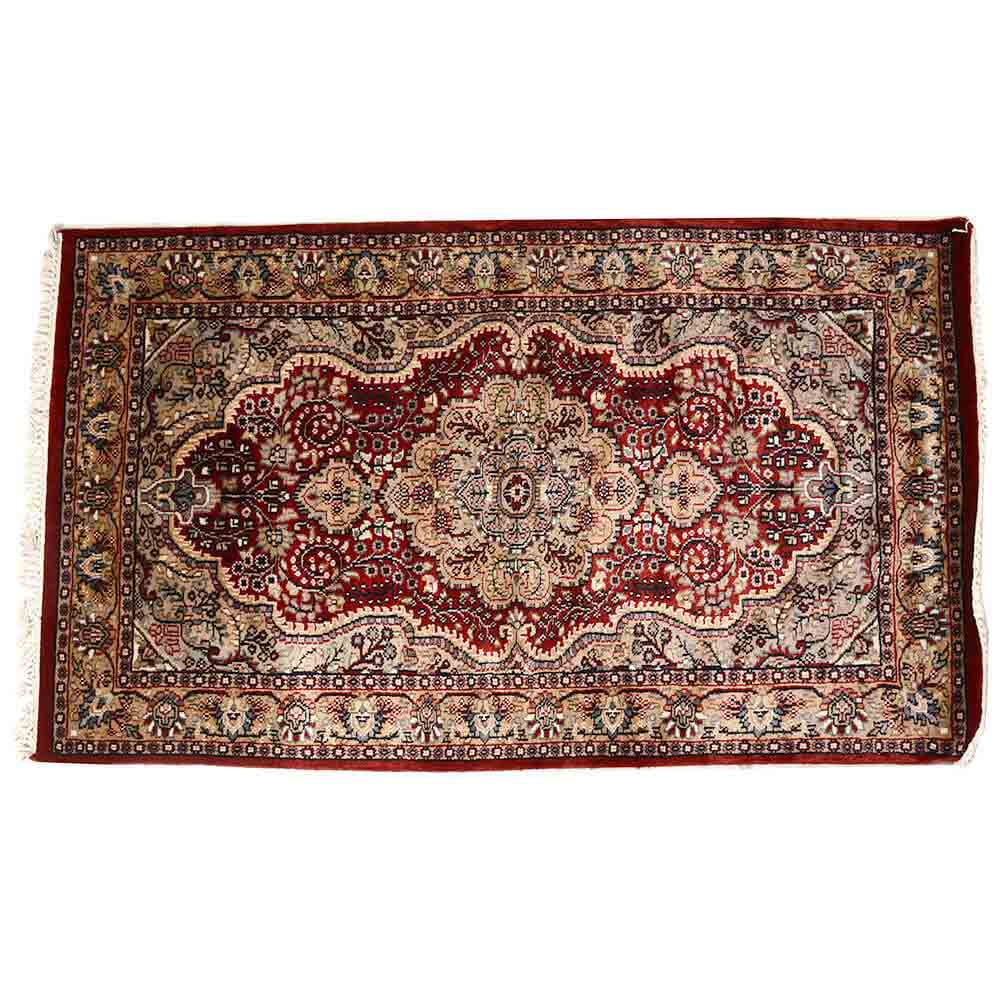 White/Red 3*5 Persian Hand Knotted Wool Rug