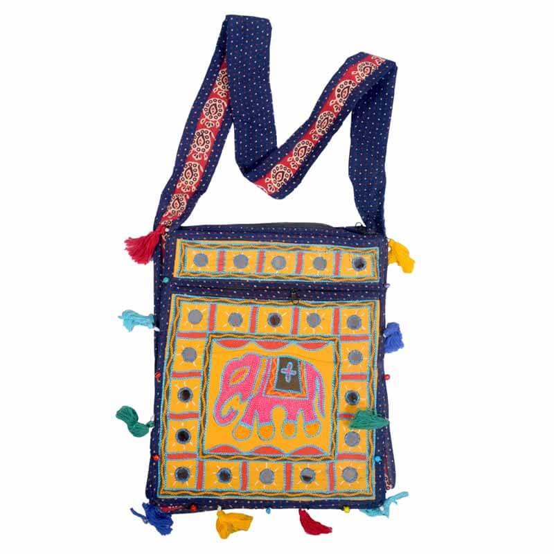 aabb7b3e04 Yellow Embroidered Ari Rectangular Elephant And Mirror Work Shoulder Bag