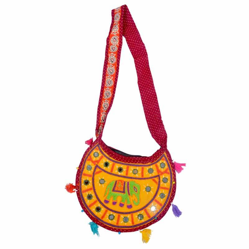 Yellow Embroidered Ari Round Elephant And Mirror Work Shoulder Bag