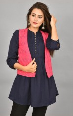 Pink Black Ikat Cotton Koti Jacket-36283
