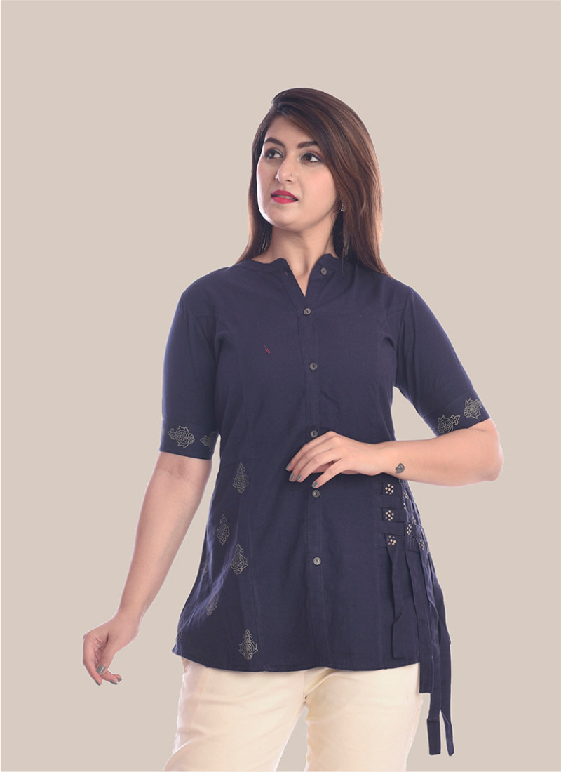 1/2 Sleeve Navy Blue Shirt Style Top-35063