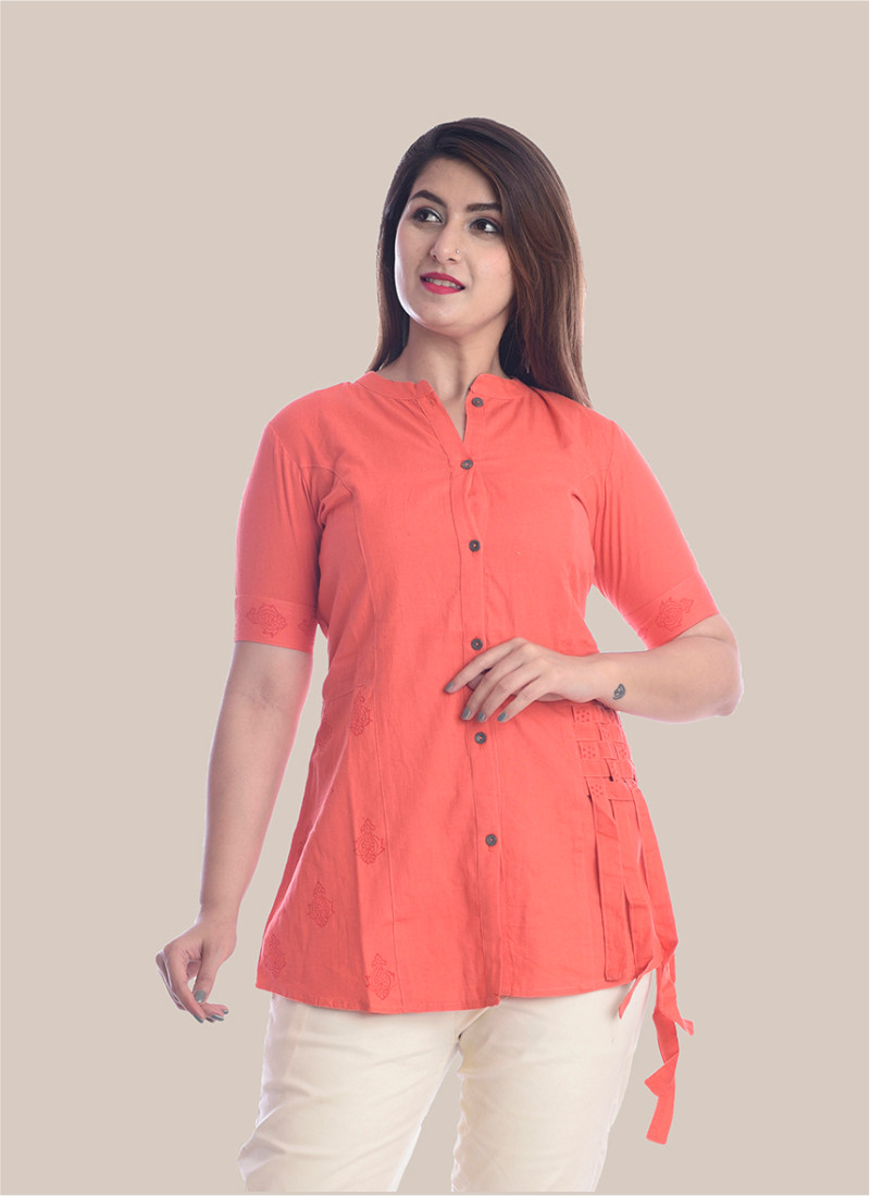 1/2 Sleeve Peach Shirt Style Top-35062