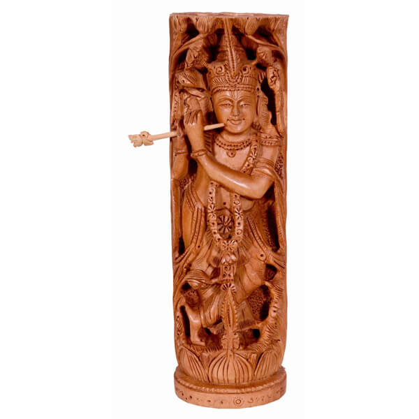 2 in 1 hand carved statue of lord krishna and radha