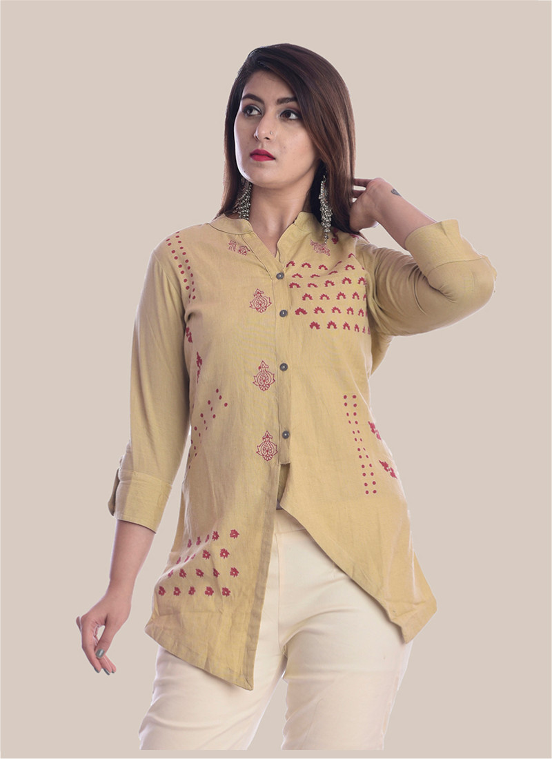 3/4 Sleeve Cream Diagonal Layered Multi Block Print Top-35040