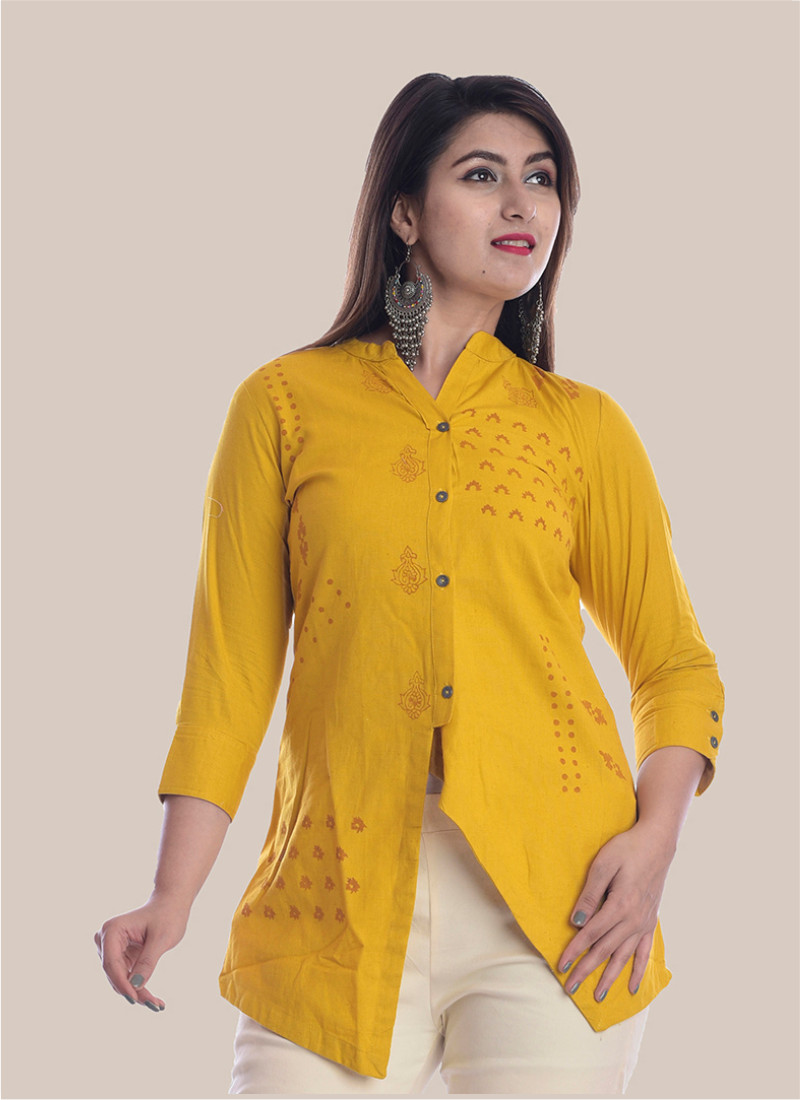 3/4 Sleeve Mustard Yellow Diagonal Layered Multi Block Print Top-35039