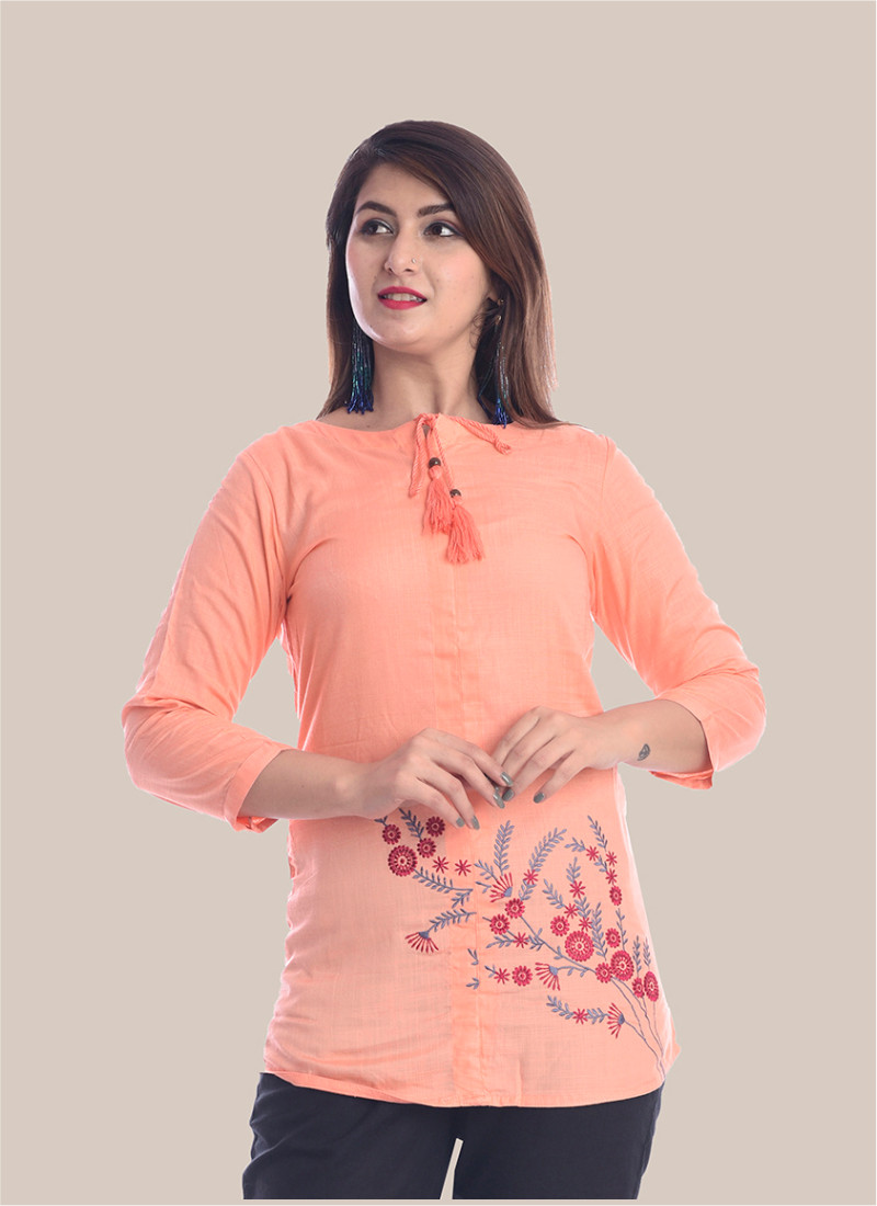 3/4 Sleeve Peach Bottom Embroidery Top-35092