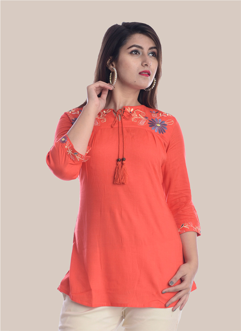 3/4 Sleeve Peach Round Neck Embroidery Top-35045