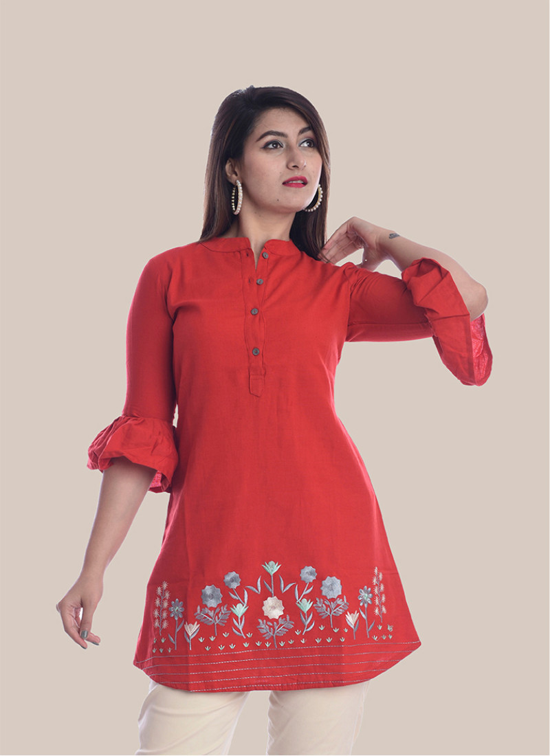 3/4 Sleeve Red Bottom Embroidery Bell Sleeves Top-35051