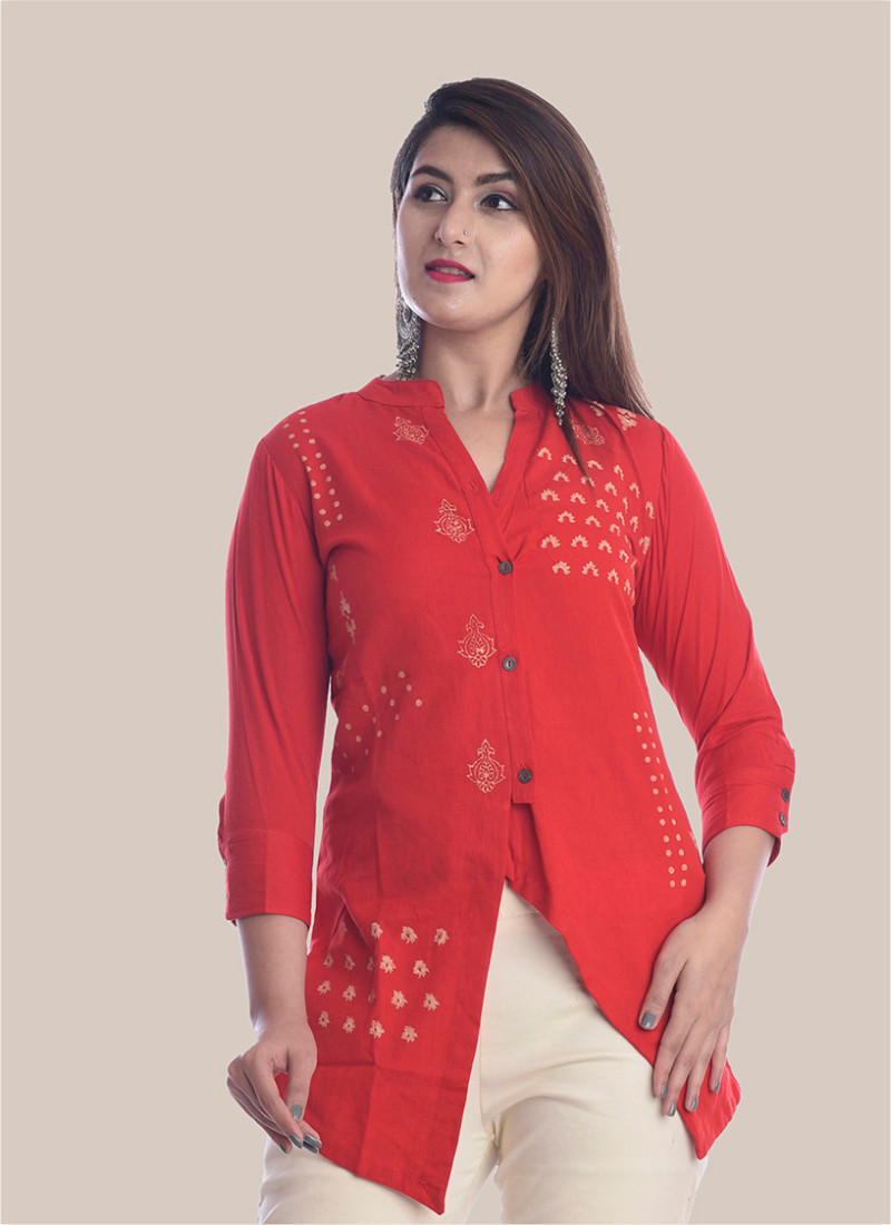 3/4 Sleeve Red Diagonal Layered Multi Block Print Top-35034