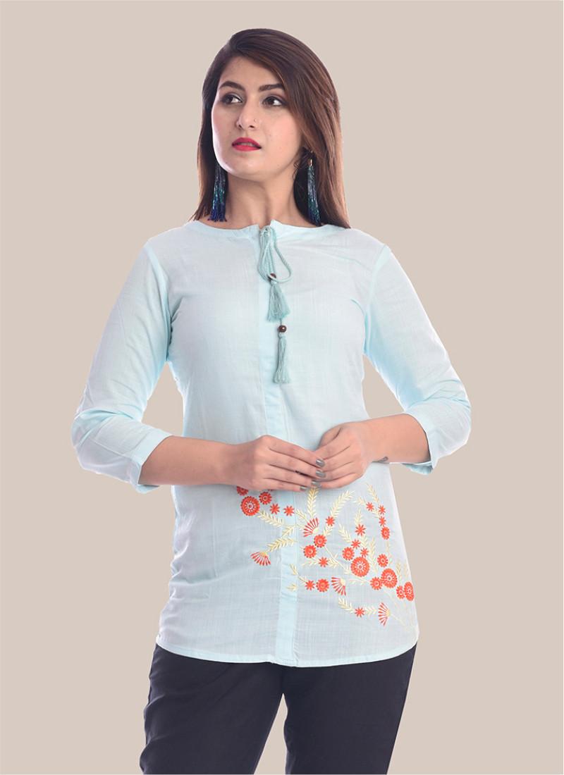 3/4 Sleeve Sky Blue Bottom Embroidery Top-35089