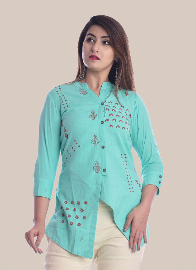3/4 Sleeve Sky Blue Diagonal Layered Multi Block Print Top-35037