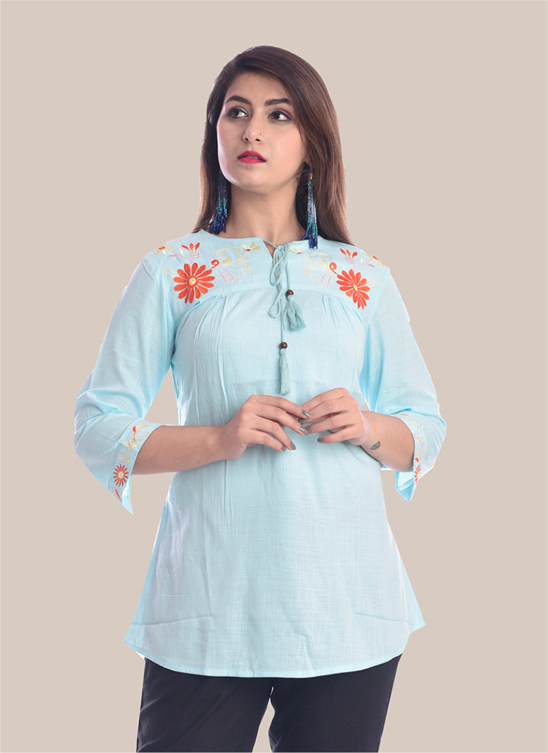 3/4 Sleeve Sky Blue Round Neck Embroidery Top-35088