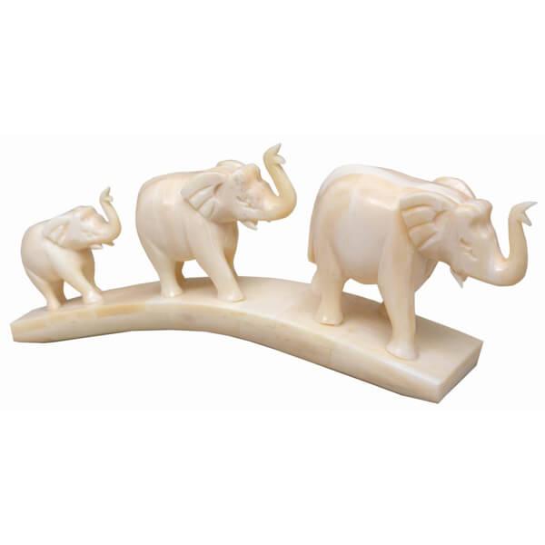 camel-bone White Elephant Statue-3 inch