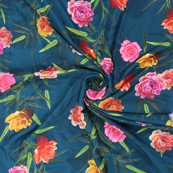Blue and Red Flower Silk Crepe Fabric-18130