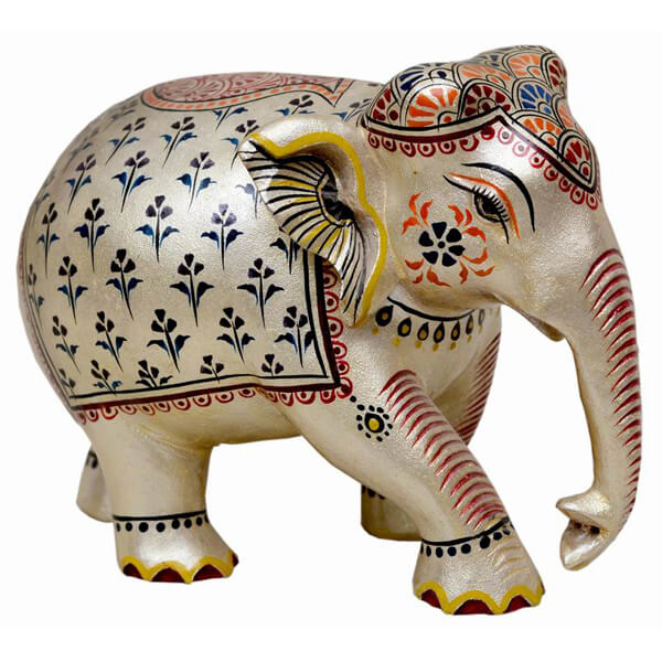 handpainted with natural stone colour Teak-Wood Elephant sculpture-6 inch