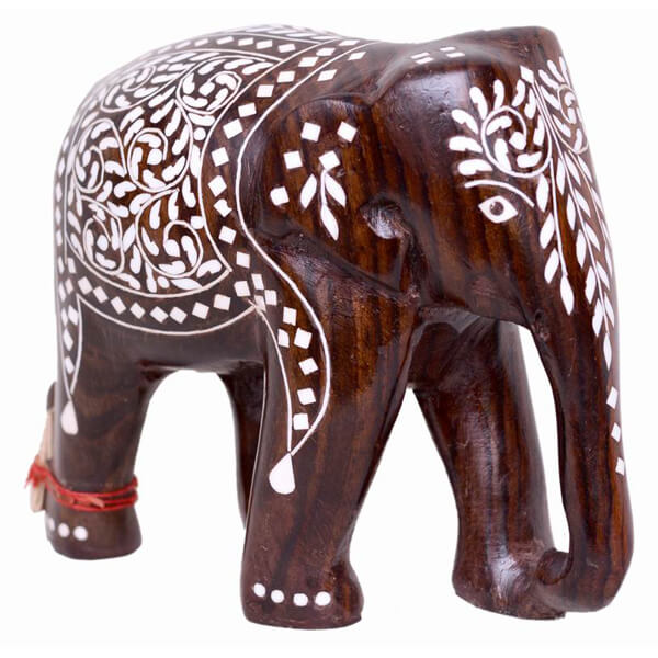 handcarved inlay work Teak-Wood Natural Color Elephant sculpture-6 inch