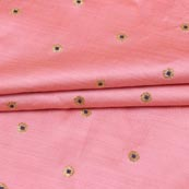 Baby Pink Black and Golden Zari Dot Brocade Silk Fabric-9248
