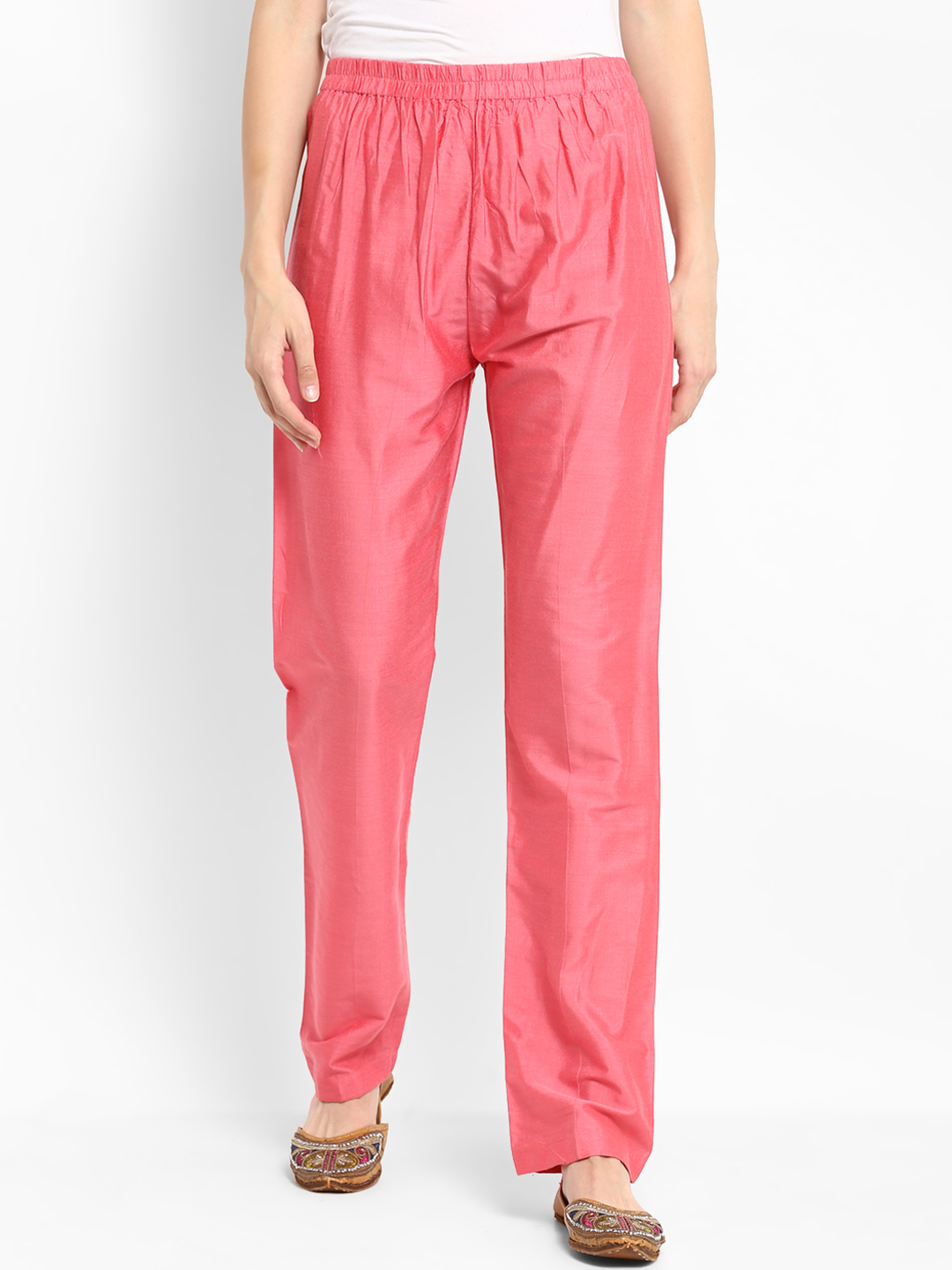 Baby Pink Cotton Silk Wide Pant-34273