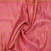 Baby Pink Golden Music Instrument Brocade Silk Fabric-9343
