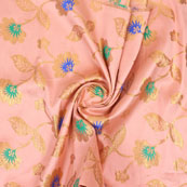 Baby Pink Golden and Blue Floral Brocade Silk Fabric-9084