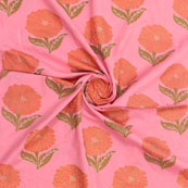 Baby Pink Green Block Print Cotton Fabric-14873