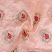 Baby Pink Red Embroidery Organza Silk Fabric-51618