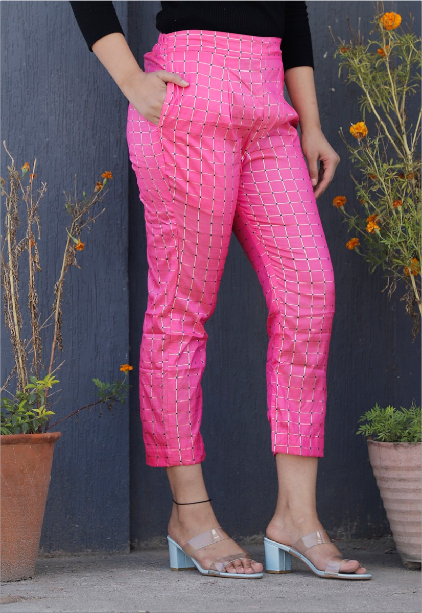 Baby Pink White Brocade Silk Ankle Women Check Pant-34322