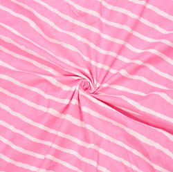 Baby-Pink White Leheriya Cotton Fabric-28104